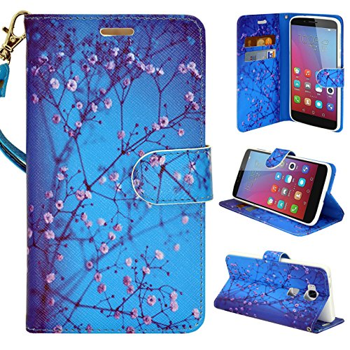 Price comparison product image Honor 5x Wallet Case Customerfirst, Flip PU Leather Fold Wallet Pouch Case Premium PU Leather Flip Case, For Huawei Honor 5x, Slim Folio with Kickstand (Blossom Blue)