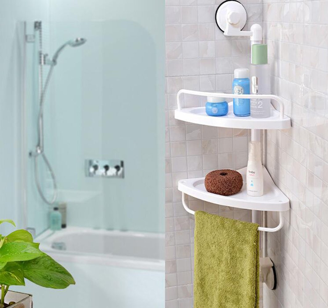 Wall Mounted Plastic 2 Tier Bath Corner Suction Shelf Plastic Shower ...