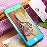 iPhone 7 case,sxxissky[Rainbow Series] 2 in 1 Ultra Thin Full body Coverage [Gradient Ramp Colorful/Green-Blue] with [Tempered Glass Screen] Slim PC Hard Protective Case Cover & Skin for Apple iPhone7