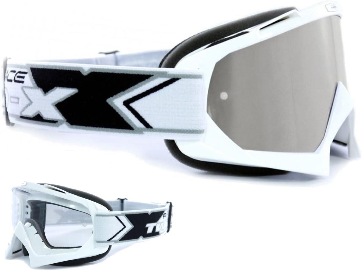 Two X Race Crossbrille Weiss Glas Verspiegelt Silber Mx Brille Motocross Enduro Spiegelglas Motorradbrille Anti Scratch Mx Schutzbrille Auto