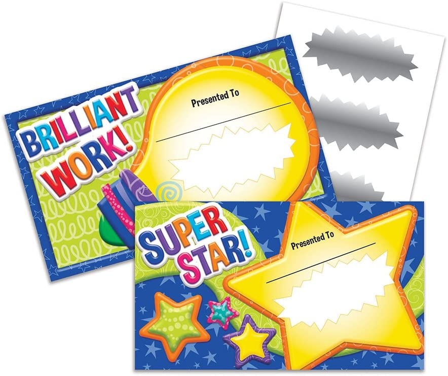 Eureka Color My World 'Bright Light and Star' Scratch Off Student Awards 24pc, 3.5'' W X 6'' H : Office Products