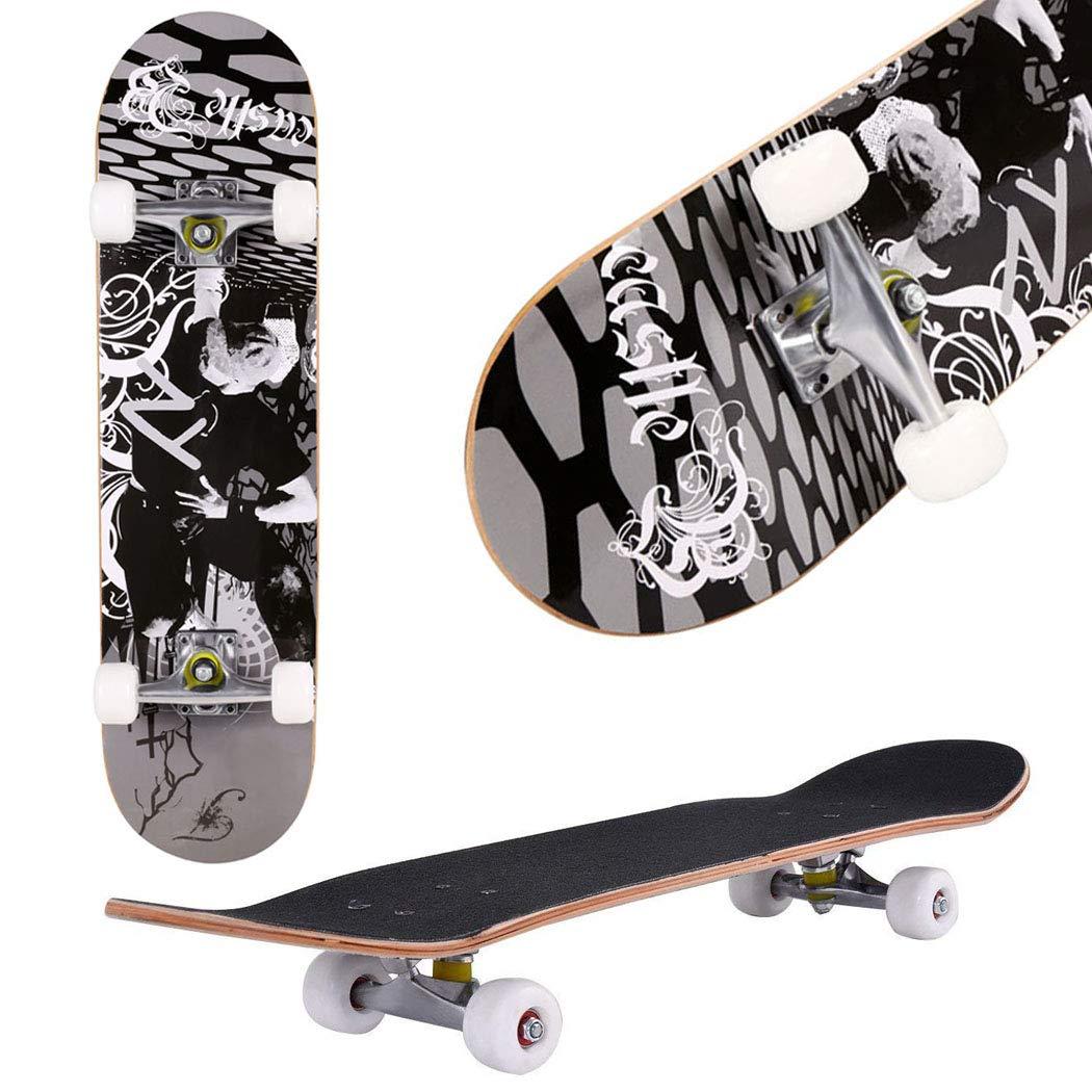 Aceshin Skateboard, 31'' x 8'' Complete PRO Skateboard, 9 Layer Canadian Maple Wood Double Kick Tricks Skate Board Concave Design for Beginner,Gift for Kids Boys Girls Youths (3 - Black Pose)