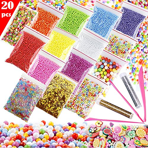 Slime Making Kit Supplies Fishbowl Beads, Styrofoam Polystyrene Foam Balls Beads, Confetti, Glitter Jars, Fruit Slices, Slime Tools DIY Art Craft for kids, Homemade Slime, Wedding and Party Decoration