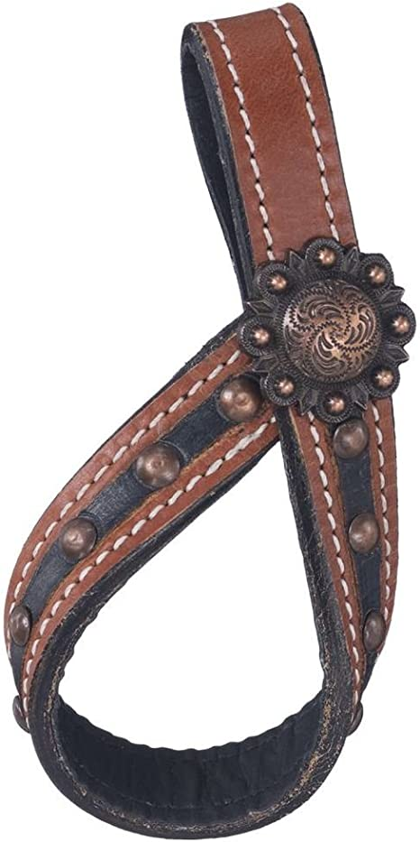 """Showman TIE DOWN KEEPER 4/"""" Long Brown Filigree Leather"""