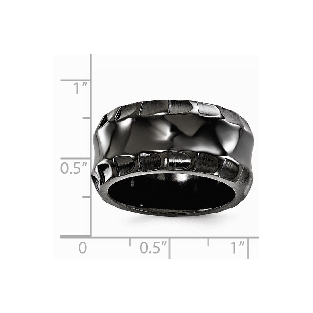 Grey Titanium Wedding Band Ring Standard Faceted Polished 12 mm Black Faceted Edges 12mm Ring