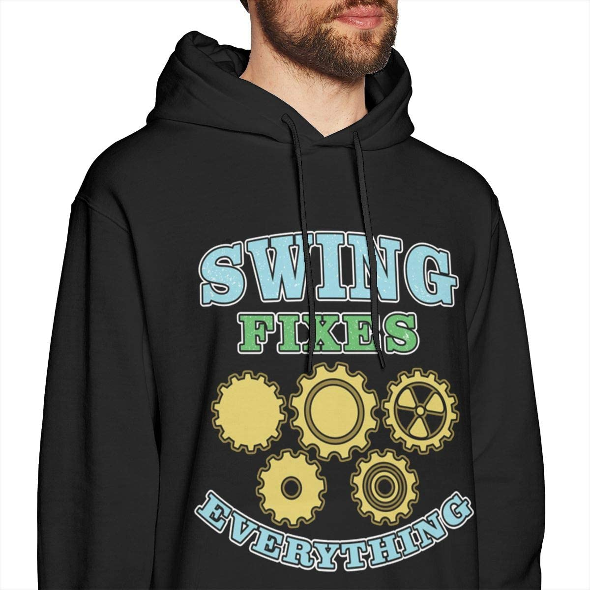 Swing Fixes Everything Engineer Mens Pullover Hoodies Casual Hooded Sweatshirt