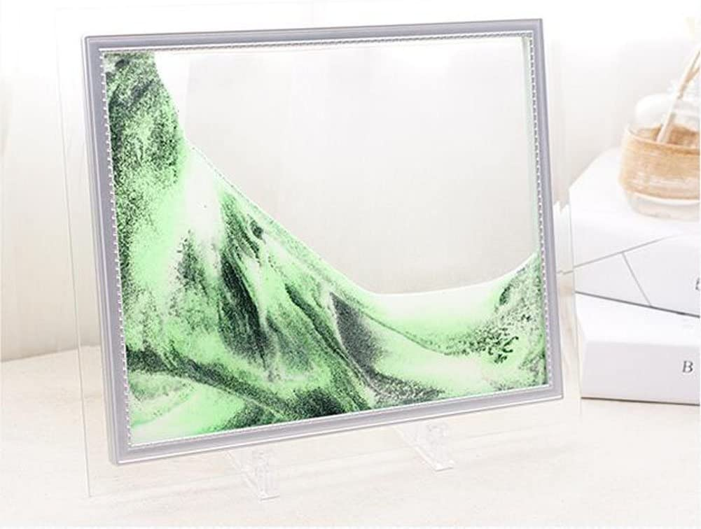Queenie Flowing Sand Painting Rectangle Glass Sand Frame Large Size Moving Grit Picture with Abstractive Landscape Sand Art for Home Office Décor - 10 inch