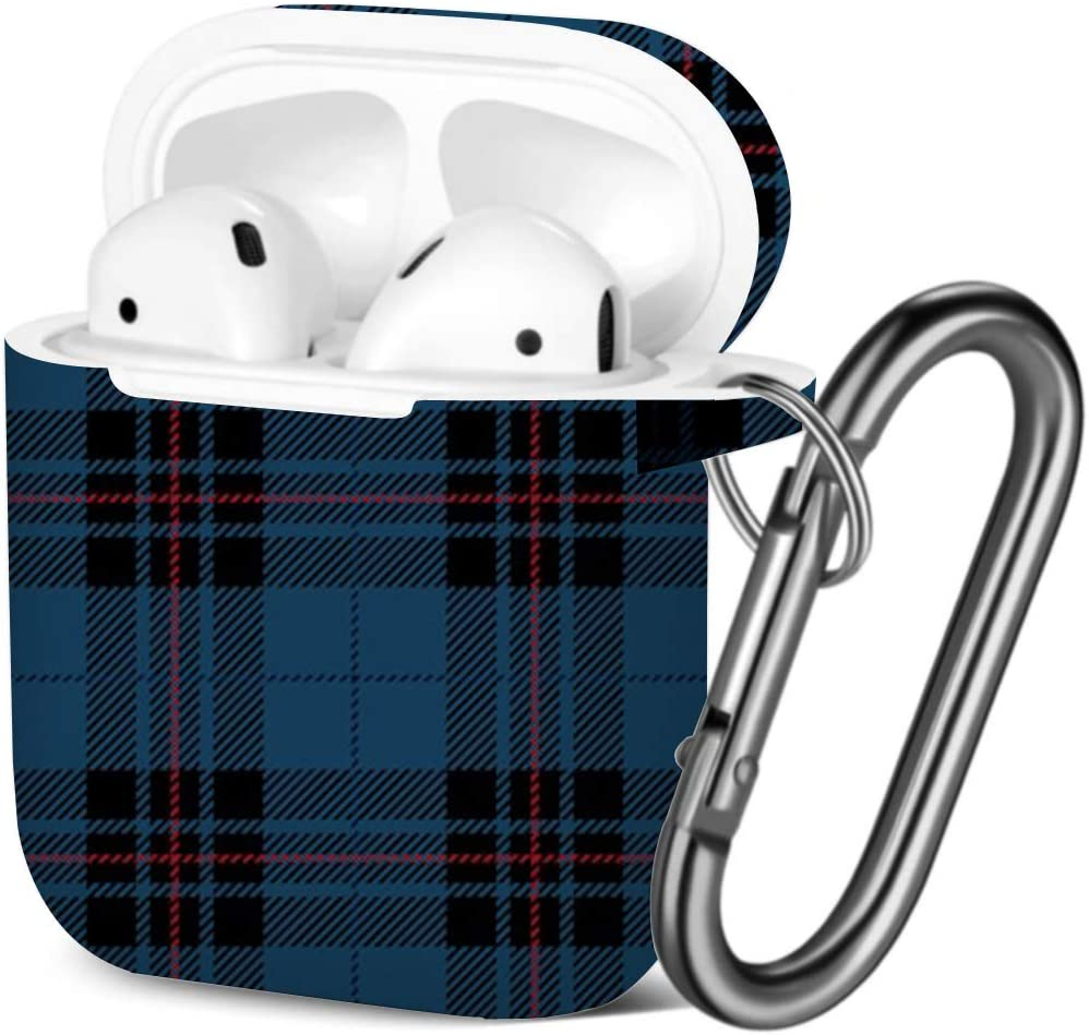 Blue Black Tartan Scottish Compatible with AirPods 2 and 1 Shockproof Soft TPU Gel Case Cover with Keychain Carabiner for Apple AirPods