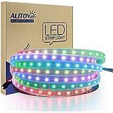 ALITOVE LEDテープライト WS2812Bアドレス可能 5050RGB SMD 5m 300個ピクセル夢色 防水 黒いベース DC 5V