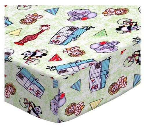SheetWorld Extra Deep Fitted Portable Mini Crib Sheet - Safari Animals Green - Made In USA by SHEETWORLD.COM