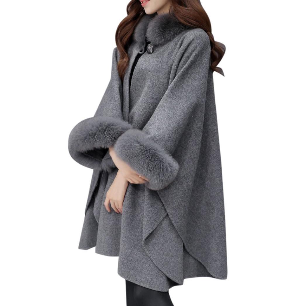 Freeheart Winter Women Cloak Coat Faux Fur Shawl Wraps Wool Cape Jacket Cardigan (Gray, L)