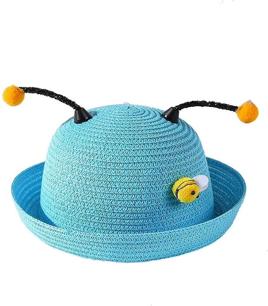 loukou Cute Bee Ears Visor Sun Hat Straw Weave Hat for 1-3 Years Old Kids Hats /& Caps