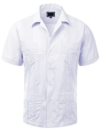 Guytalk Men's Cuban Guayabera Button-down Short Sleeve Shirt at ...
