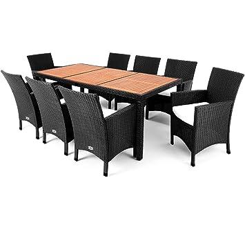 Gartenmöbel Set schwarz mit Sitzkissen Poly Rattan bis 8 Personen ...