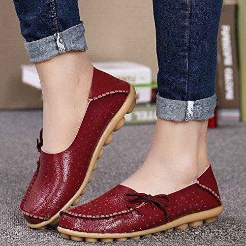 Lucksender Femmes Respirant Souple En Cuir Confort Conduite Mocassins Chaussures Vin Rouge