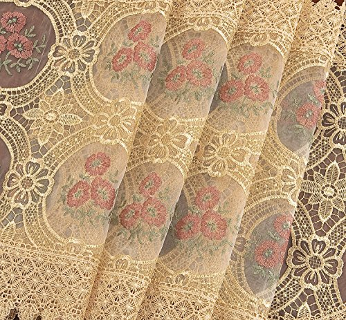 Simhomsen vintage beige embroidered floral lace linen for 102 inch table runners