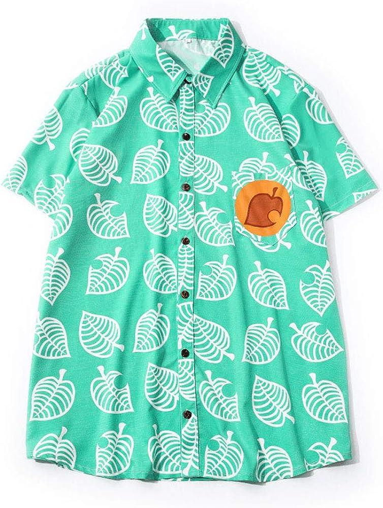 ACBANANA Mens Summer V-Neck Short-Sleeved Shirt Animal Crossing Tom Nook Game Cosplay Shirt Childrens Leaf Print Top