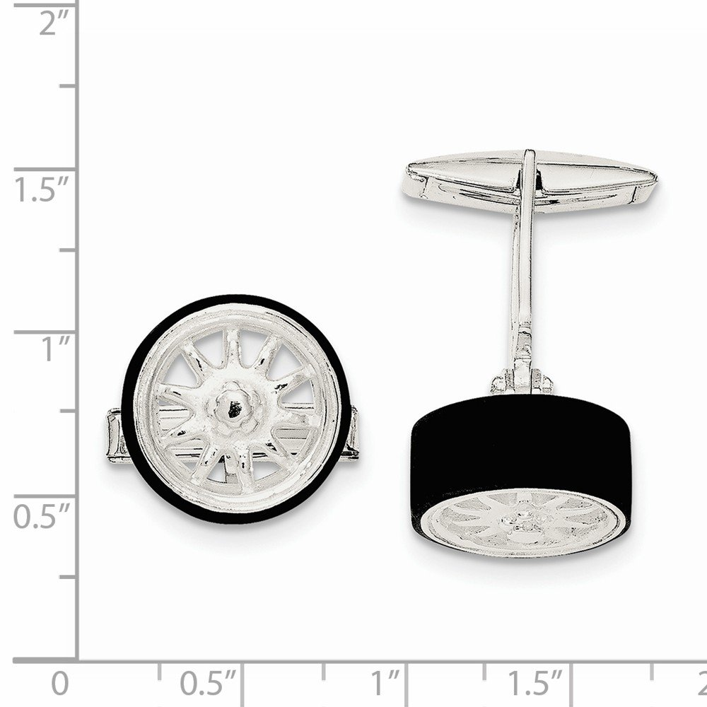 Solid 925 Sterling Silver Black Enamel Tire Cuff Links
