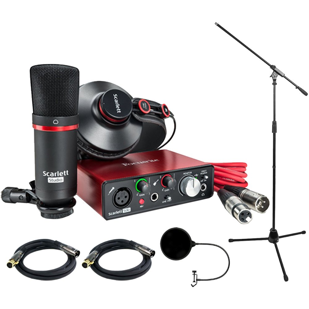 Focusrite Scarlett Solo Studio Pack 2nd Gen & Recording Bundle w/ Pro Tools, Includes, Universal Pop Filter Microphone Wind Screen,10 Premier Series XLR Male-XLR Female 16AWG Cable&Microphone Stand by Focusrite