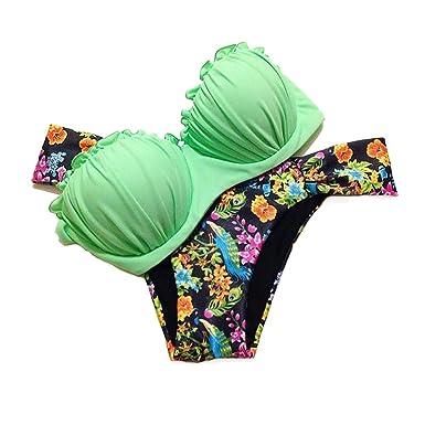556973f03ff6 CTHEE Donne Push Up BanCTHEEau Estate Spiaggia Triangolo Bikini Costume da  bagno Beachwear Verde Taglia S: Amazon.it: Abbigliamento
