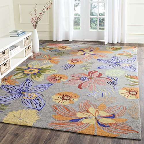Safavieh Four Seasons Collection FRS468C Hand-Hooked Grey and Orange Indoor/ Outdoor Area Rug (5' x 8')