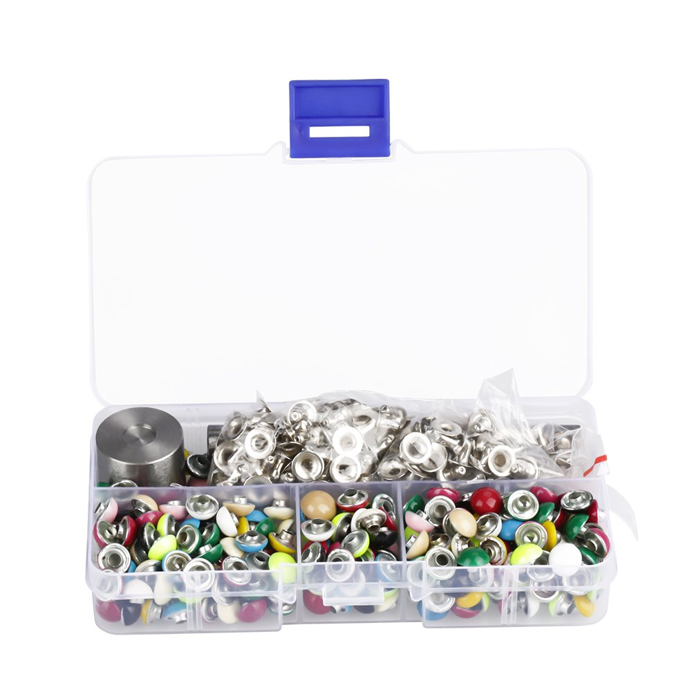 Akozon 180 sets/box Mushroom Round Dome Rivets for DIY with 3pcs Fitting Tools Set