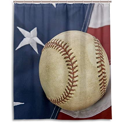 Amazon Yunnstrou Baseball With American Flag Shower Curtain