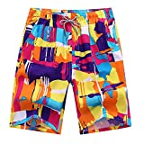 Justay Men's Printing Quick Dry Beach Shorts Swim Trunk,M(waist:30''-42'', hip:50.78''),Multicolored