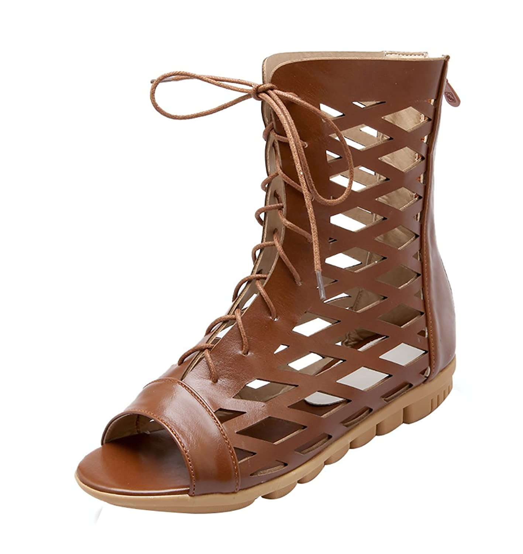 1f0f3f29ea7f YE Damen Flach Sommer Stiefeletten mit Schnürung Cut Out Sandalen Bequem  Schuhe (39EU, Beige