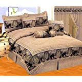 Neutral Brown / Black Comforter Set Wild Bear Animal Print Tapestry Bed In A Bag Queen Size Bedding