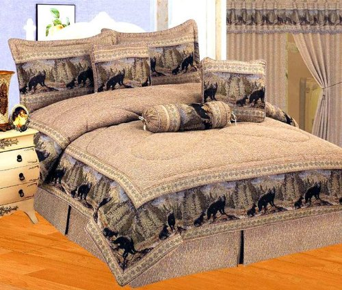 Lodge Bedding - Brown / Black Comforter Set Wild Bear Animal Print Tapestry Bed In A Bag Queen Size Bedding