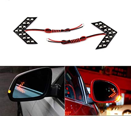 2 Pcs Car Styling 14 SMD LED Arrow Panel For Car Rear View Mirror Indicator Turn Signal Light red