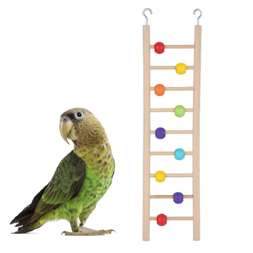 Bird Ladder Natural Wood Parrot Toys Cage Accessories Climbing Toy Ouzen
