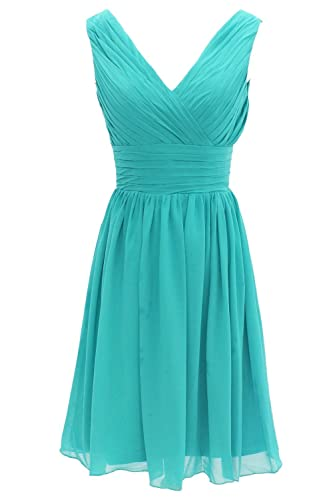 MyProms Women's V Neck Chiffon Bridesmaid Dress Short Prom Gown