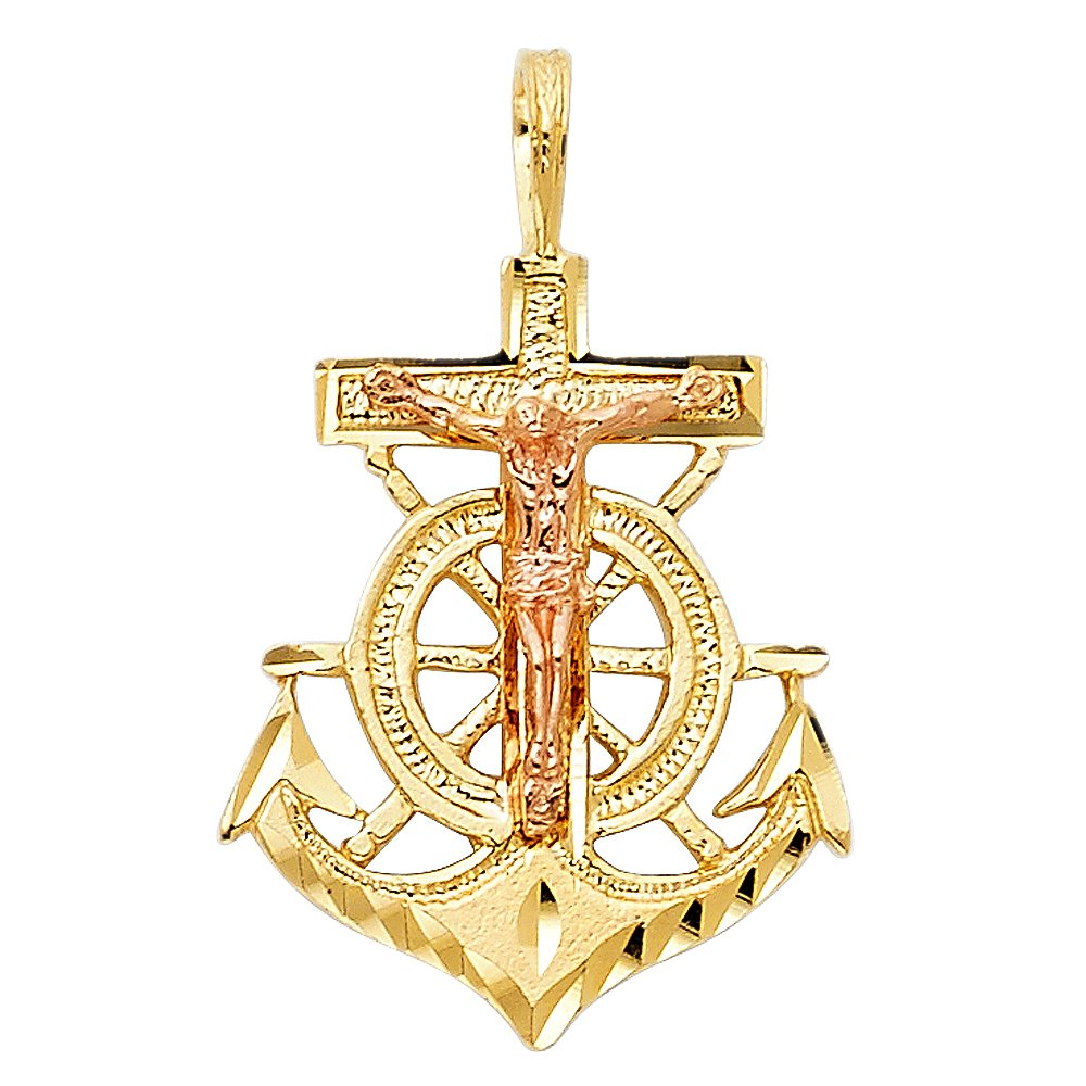14k White And Yellow Gold Religious Crucifix Anchor Pendant Charm