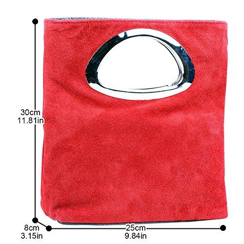 De Wocharm Mujer De Rojo Las Para Bolso Gamuza De Embrague Mano De Bolsa Color Noche Planicie Señoras Plegable Bolso XqwpA8xI