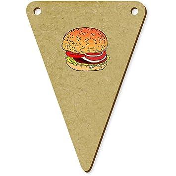 Azeeda 5 X 70mm Burger Wimpel Banner Aus Holz Bn00052300
