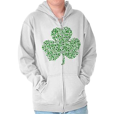 brisco marcas del día de San Patricio suerte Fun trébol - Trébol irlandés con cremallera Sudadera con capucha - Blanco - : Amazon.es: Ropa y accesorios