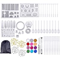 FJ 159Pcs Handmade Crystal Glue Molds and Tools Set, Durable Silicone Resin Casting Molds for DIY Jewelry Craft Making Epoxy Resin Mold Cube Pyramid Sphere