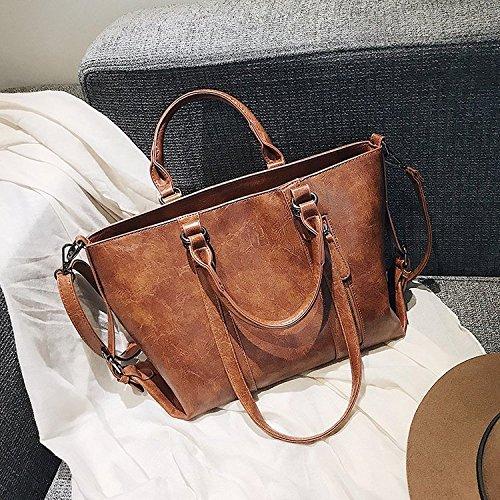 Wwf Sac interchangeable pour femme, grand sac à main rétro-européen et américain, gris clair, 35 * 12 25cm, brun