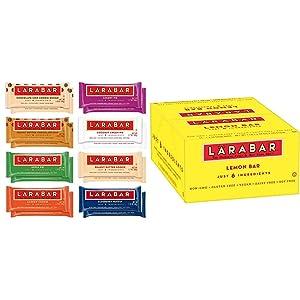 Larabar Gluten Free Snack Bars Variety Box, Vegan, 8 Flavors, 1.7oz, 16ct & Gluten Free Bar, Lemon, Whole Food, Dairy Free Snacks, 1.6 Ounce (Pack of 16)
