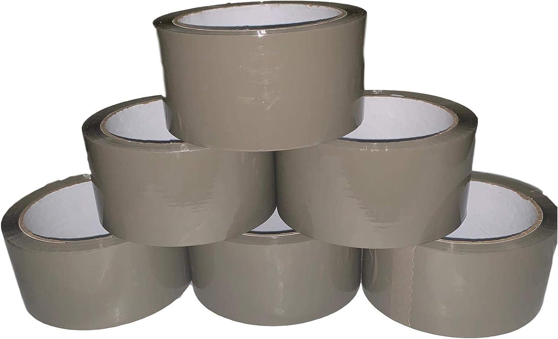 Cinta adhesiva fuerte para embalar 66 m de largo Packitsafe cinta marr/ón para paquetes embalaje 48 mm de ancho cajas