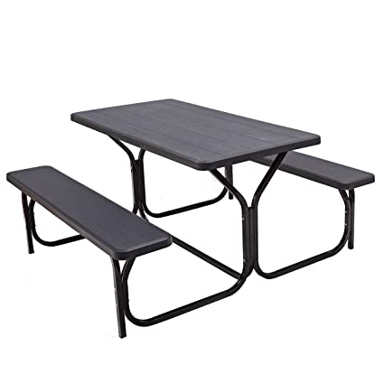 Amazon.com : Custpromo Picnic Table and Bench set all Weather ...