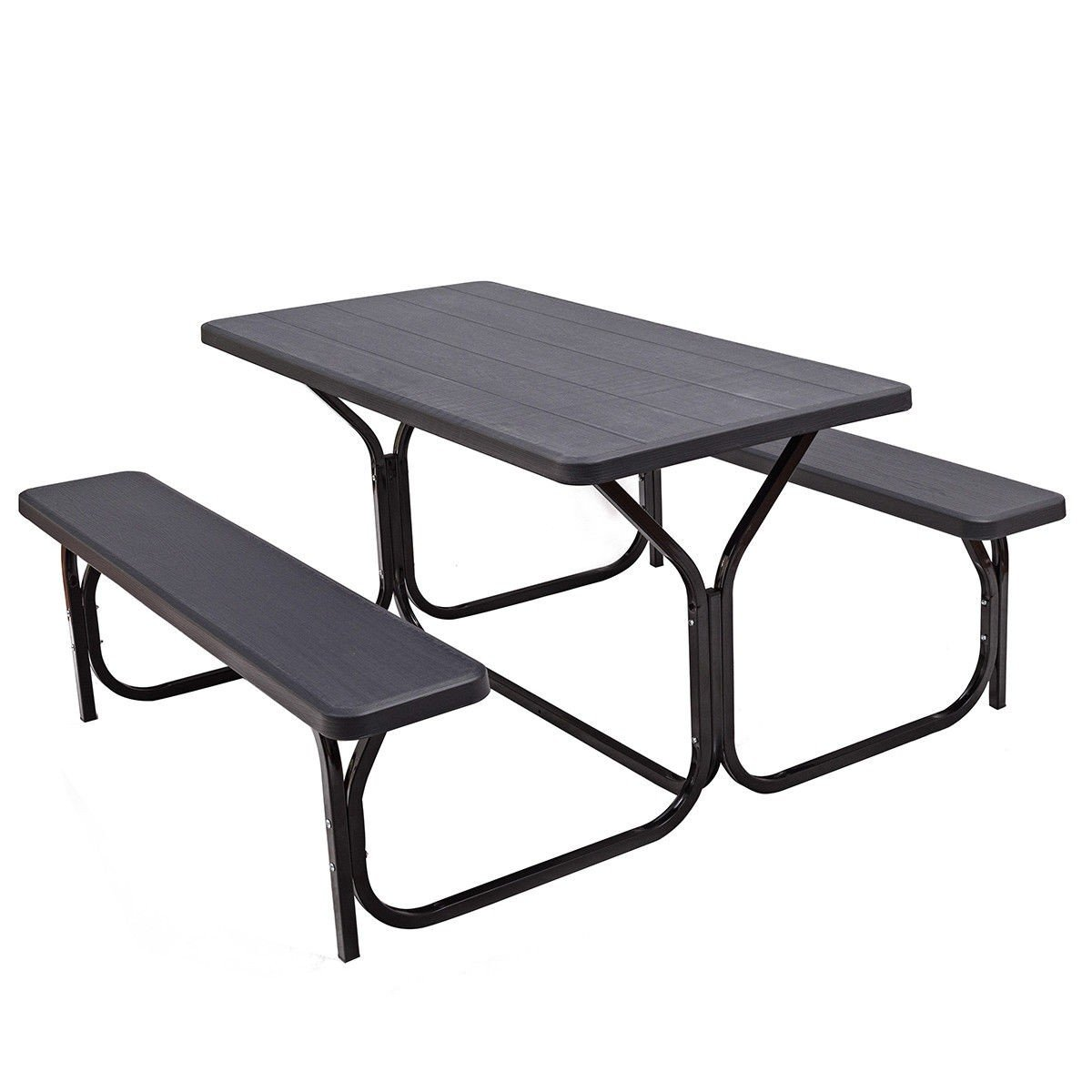 Custpromo Picnic Table and Bench Set All Weather Resistant Steel Frame Wood-Like Texture Outdoor Dining Garden Patio Camping Tables (Black)