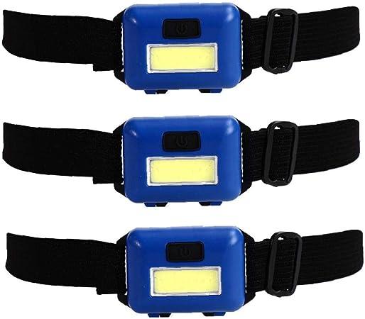 JiaHan H11 avec LED Ampoule COB Lampe Frontale Ultra Lumineux LED Lampe de Poche /étanche et Anti-poussi/ère Phare pour Camping Randonn/ée Plein air /À Piles 3pcs Bleu