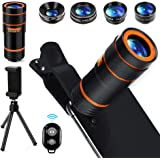 Cell Phone Camera Lens Kit,6 in 1 Universal +0.62x Wide Angle &25x Macro +235°Fisheye +Phone Holder -Shutter Remote…
