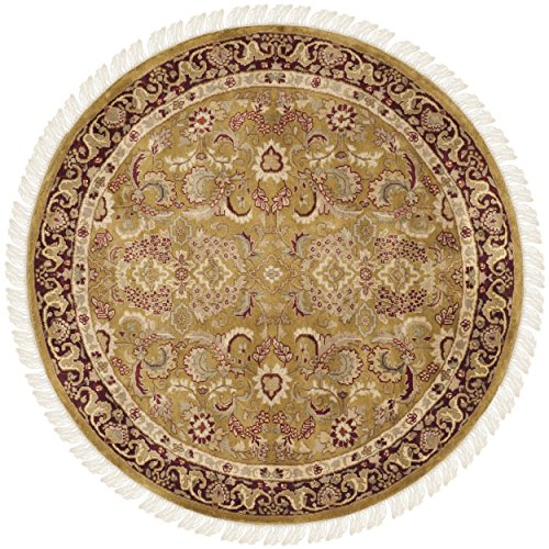 Safavieh Dynasty Collection DY301A Hand-Knotted Gold and Red Premium Wool Round Area Rug (6' Diameter)