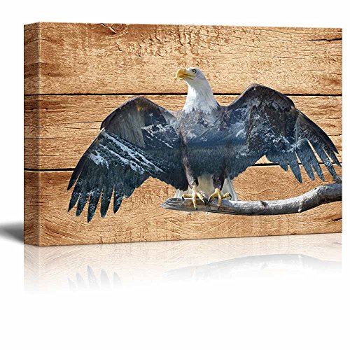 Double Exposure Rustic Eagle in The Wild on Vintage Wood Background Wall Decor