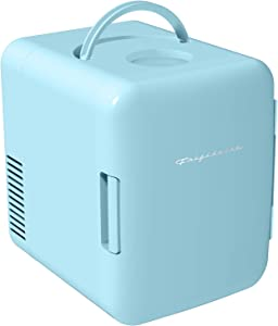 Frigidaire Mini Portable Compact Personal Fridge Cools & Heats, 4 Liter Capacity Chills Six 12 oz Cans, 100% Freon-Free & Eco Friendly, Includes Plugs for Home Outlet & 12V Car Charger - Blue