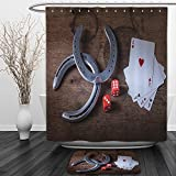 Vipsung Shower Curtain And Ground MatSaloon Decor Collection Horseshoes Lucky Card Game Dice Ace of Hearts Number Nine Poker Picture Pattern Red GrayShower Curtain Set with Bath Mats Rugs